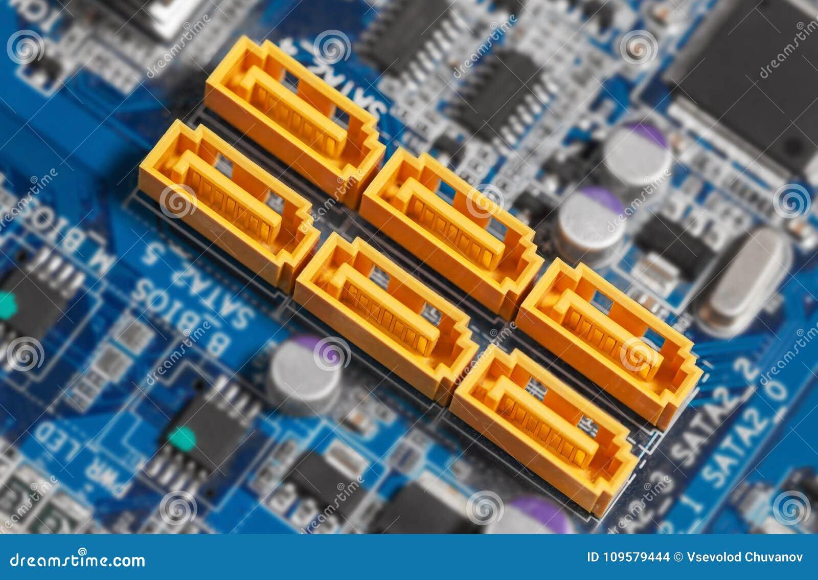 7 Pin Sata Connectors On Motherboard: Motherboard SATA Connectors. Focus On SATA Stock Photo