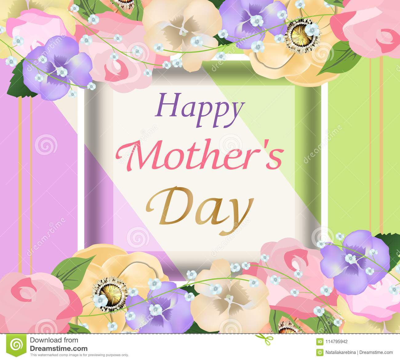 Mothers Day Background With Beautiful Flowers Greeting Card Design