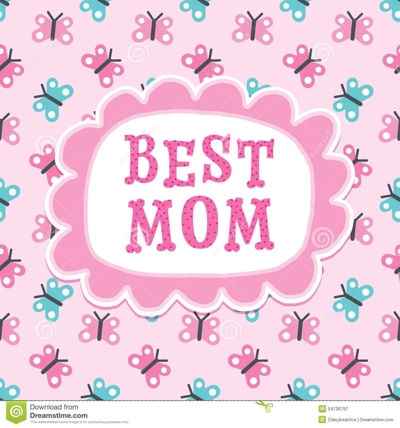 Mothers Day Or Birthday Card Best Mom Butterflies Stock Vector - Image ...