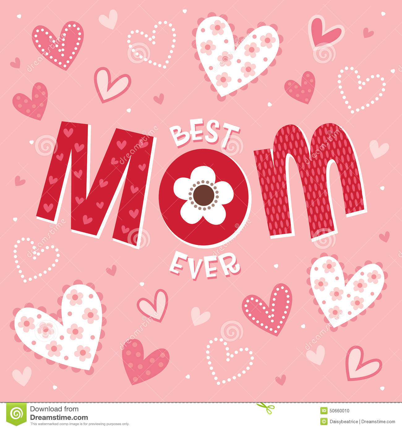Mothers Day Or Birthday Card In Pink Best Mom Ever Stock