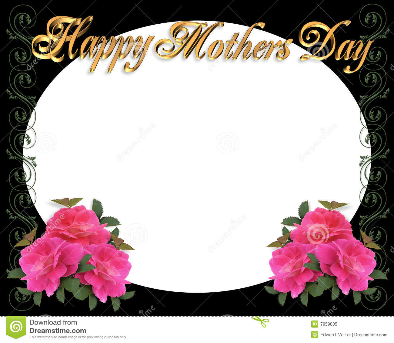 mothers day border frame on black - Mother Picture Frame