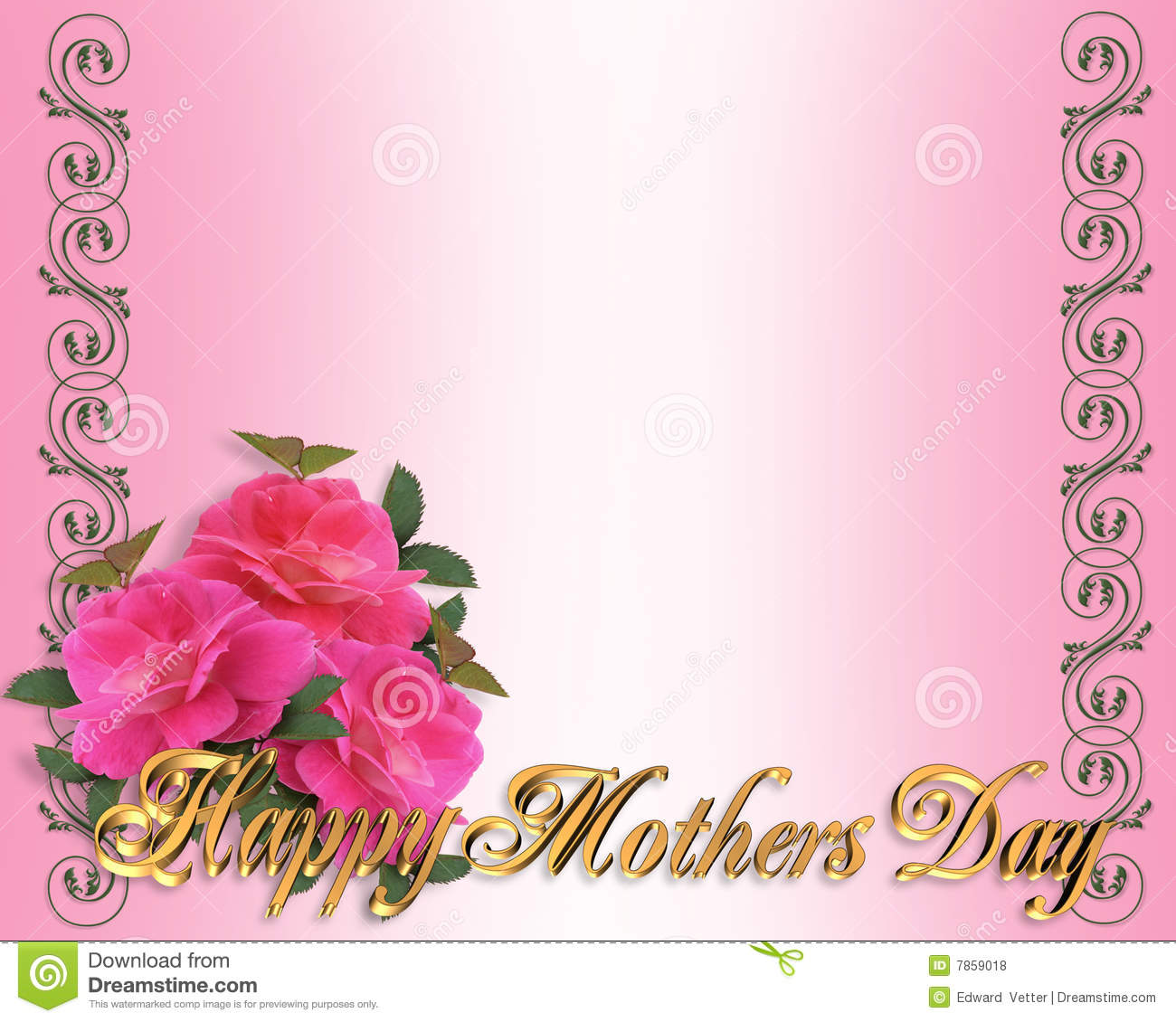 mothers day border pink roses royalty free stock photos