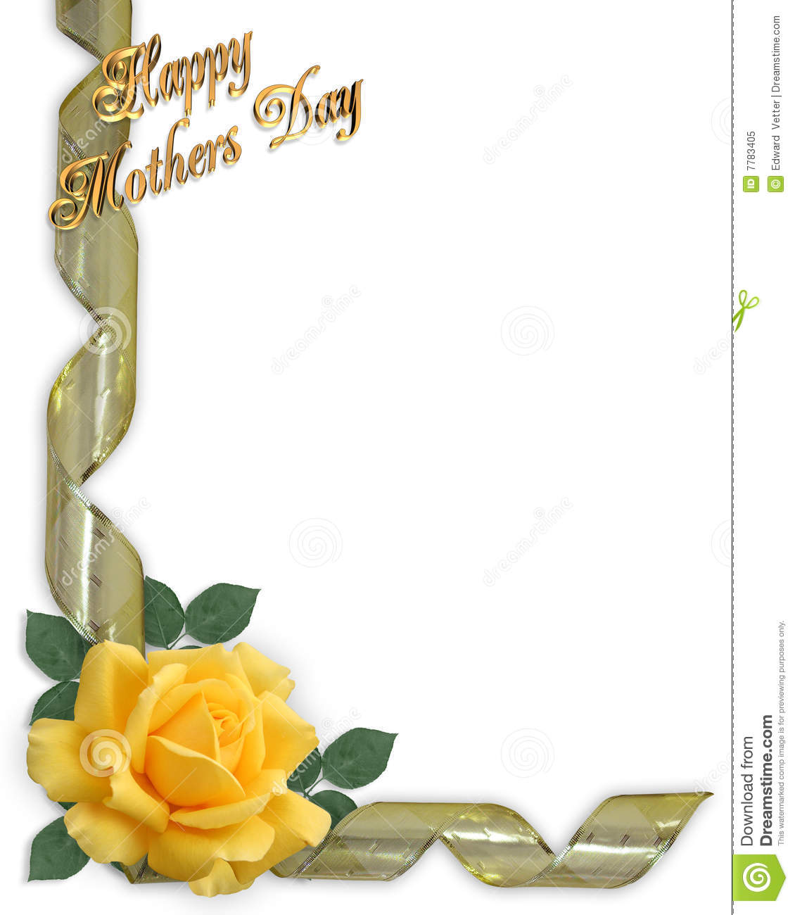Mothers Day Border Yellow Rose Stock Illustration ...