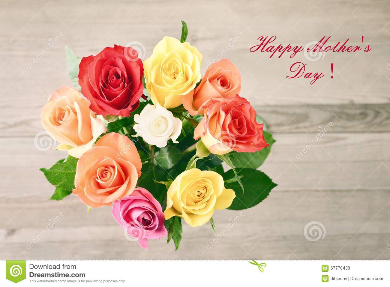 Mothers Day. Bouquet Of Roses. Stock Photo - Image: 67770438