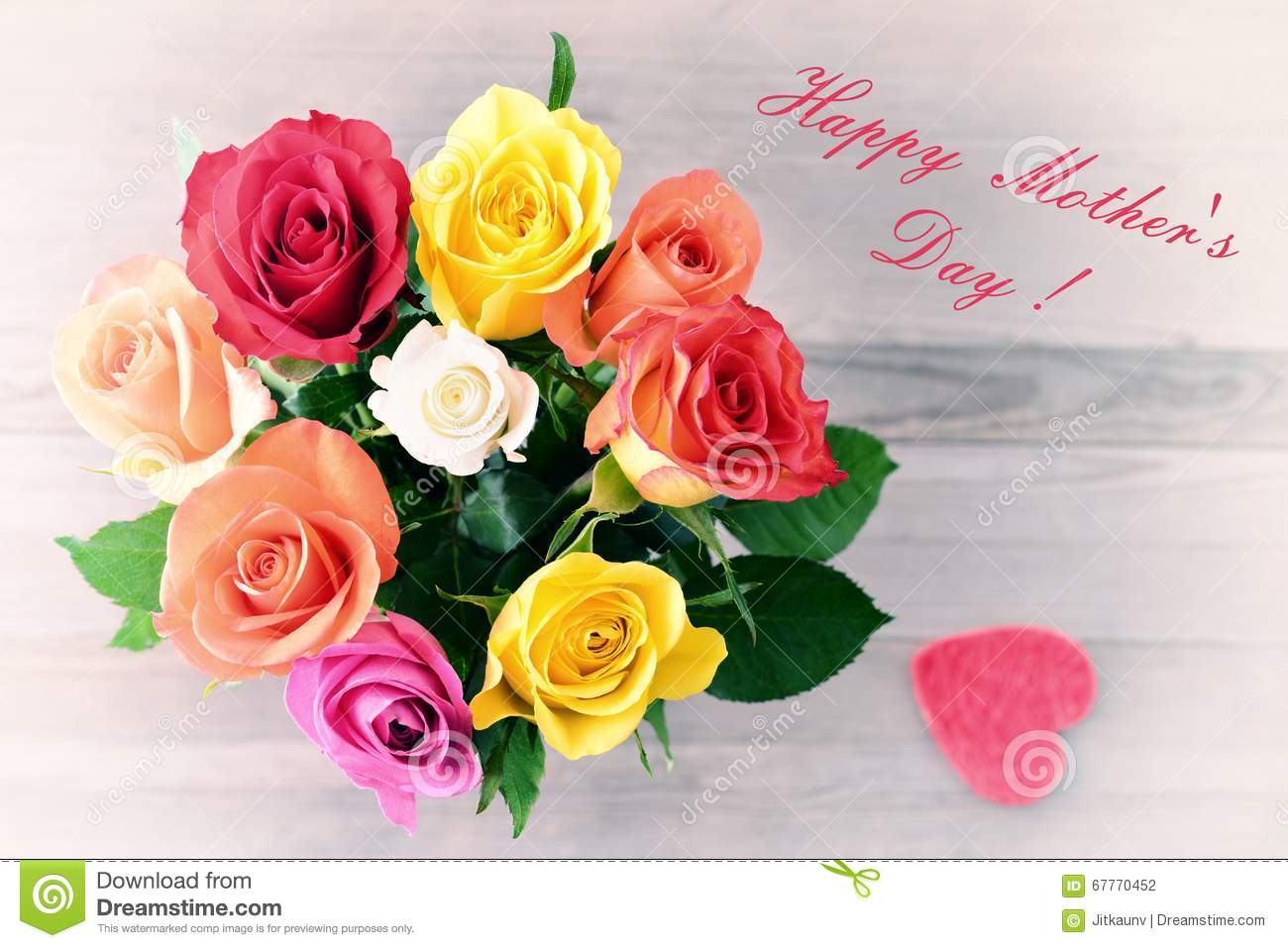 Mothers Day Bouquet Of Roses Stock Photo Image Of Text Freshness 67770452