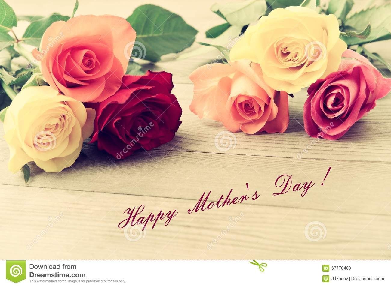 Mothers Day Card With Roses Rose For Mother Background And Flower