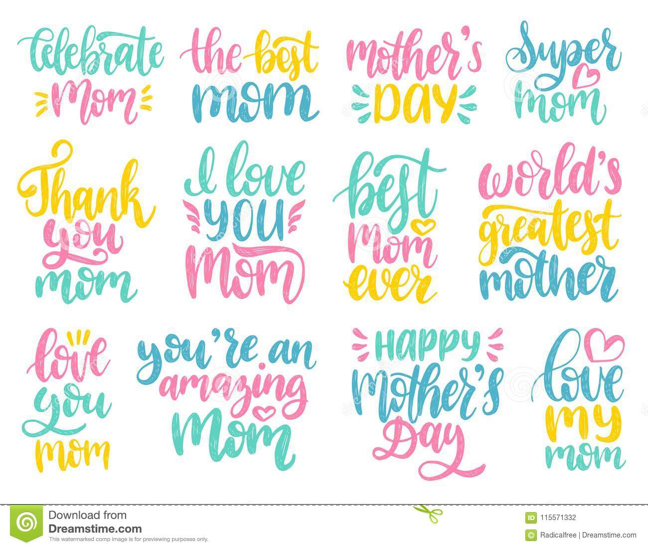 Mothers day calligraphy illustration set vector handwritten phrases download mothers day calligraphy illustration set vector handwritten phrases collection for greeting card festival m4hsunfo