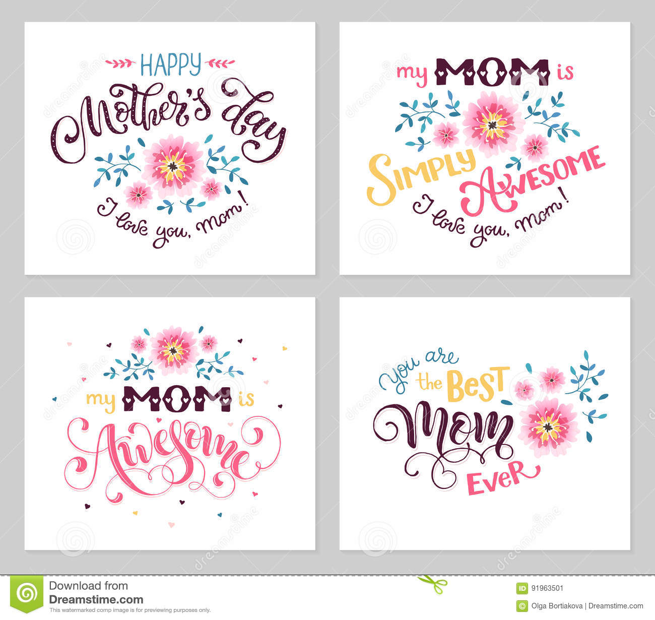 Mothers day card collection stock vector illustration of happy mother day greeting card set my mom is awesome best mom ever hand drawn calligraphic phrases with flowers isolated on white background m4hsunfo