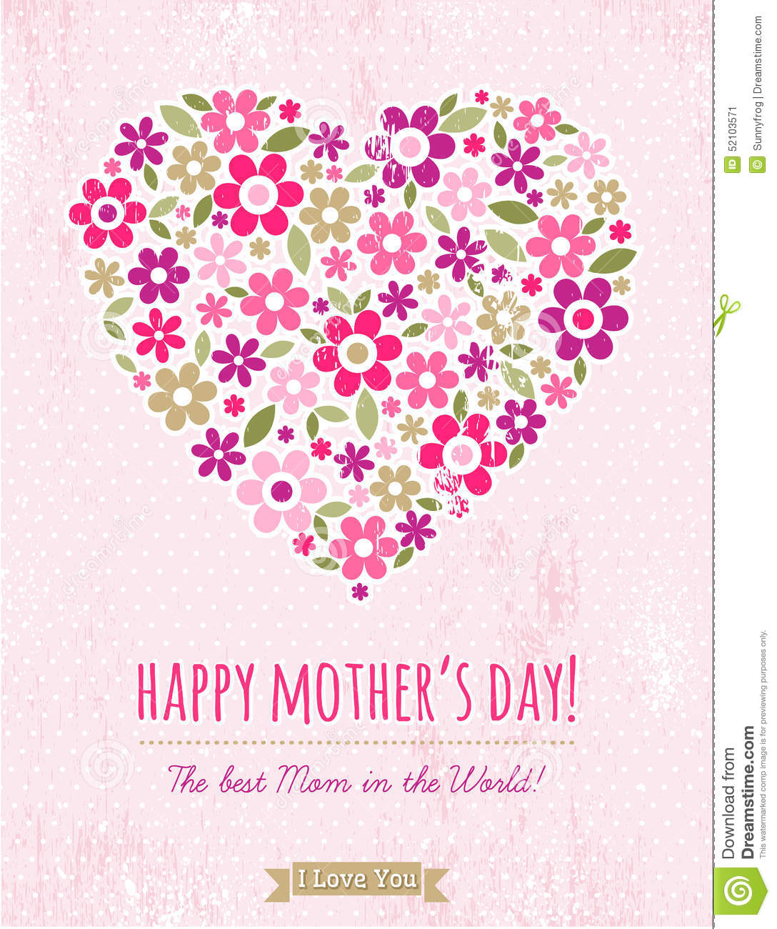 Mothers Day Card With Heart Of Flowers On Pink Background Stock