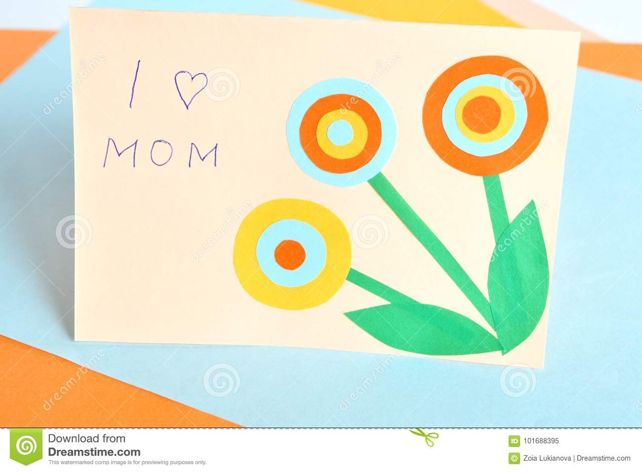 Mother S Day Card Handmade Crafts Stock Image Image Of