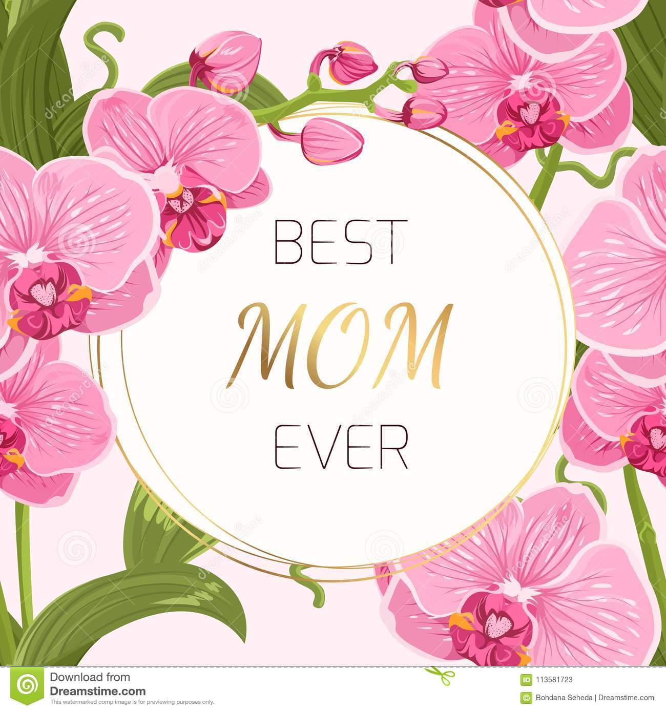 mothers day card pink orchid wreath ring garland stock vector
