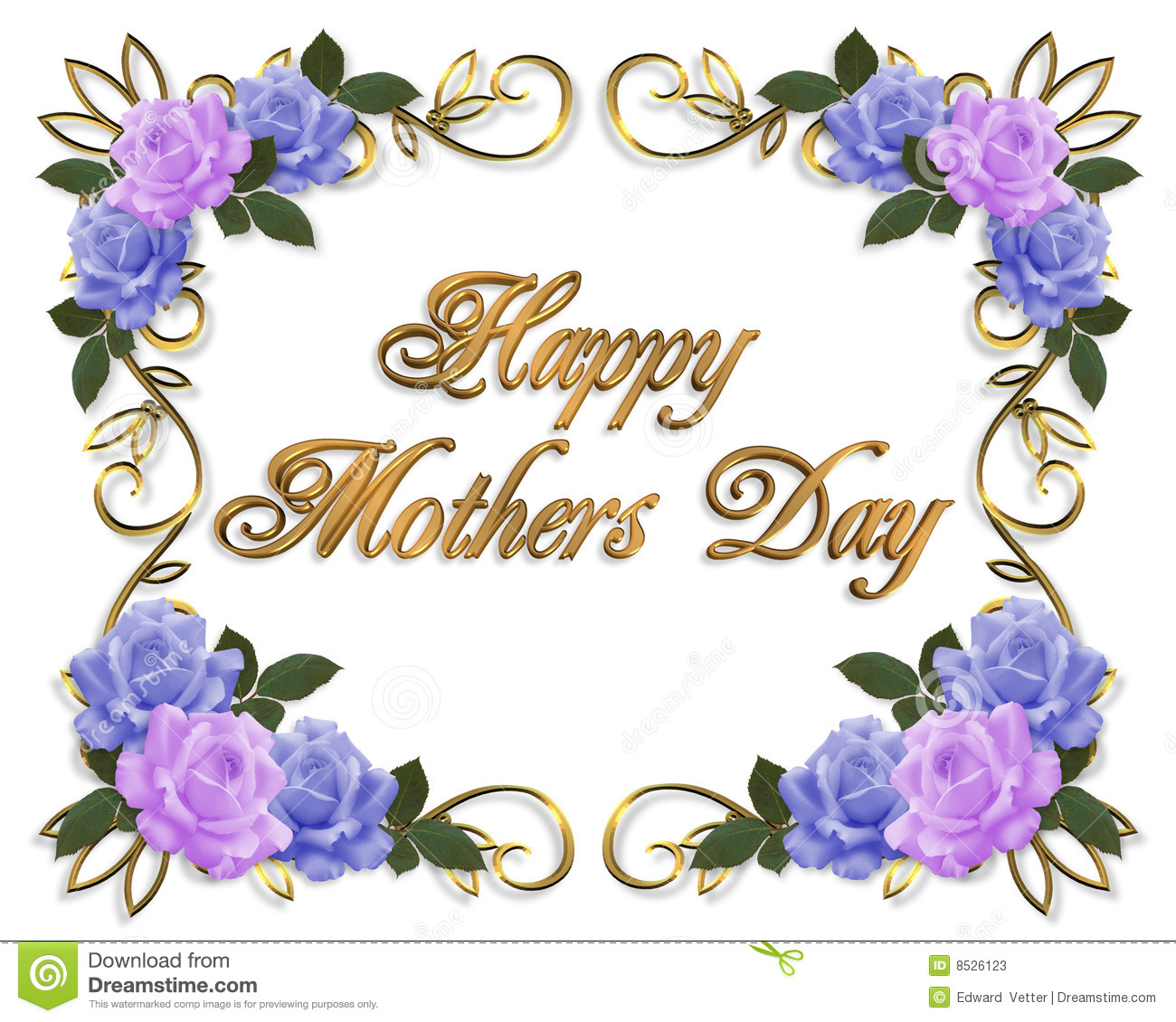 Mothers Day Card Roses Lavender Blue Stock Photos Image