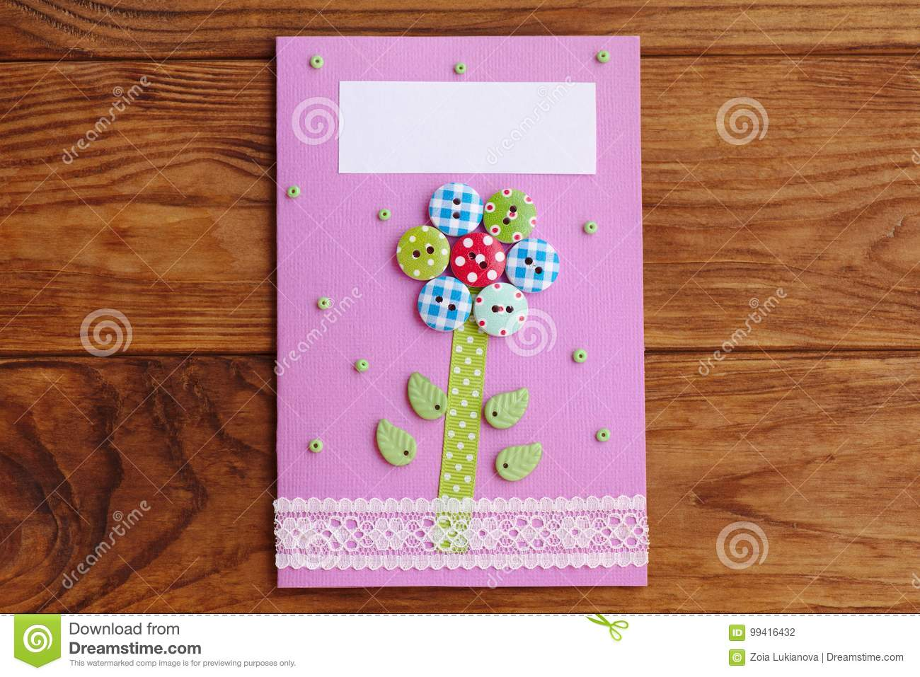 Mother S Day Or Mom Birthday Greeting Card With Flower Isolated On A