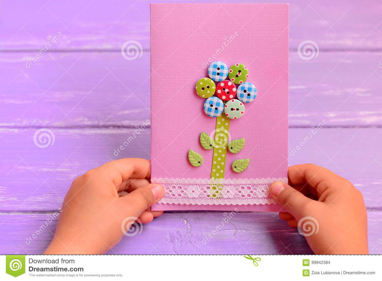 Child Holds A Flower Card In His Hands Child Made A Greeting Card
