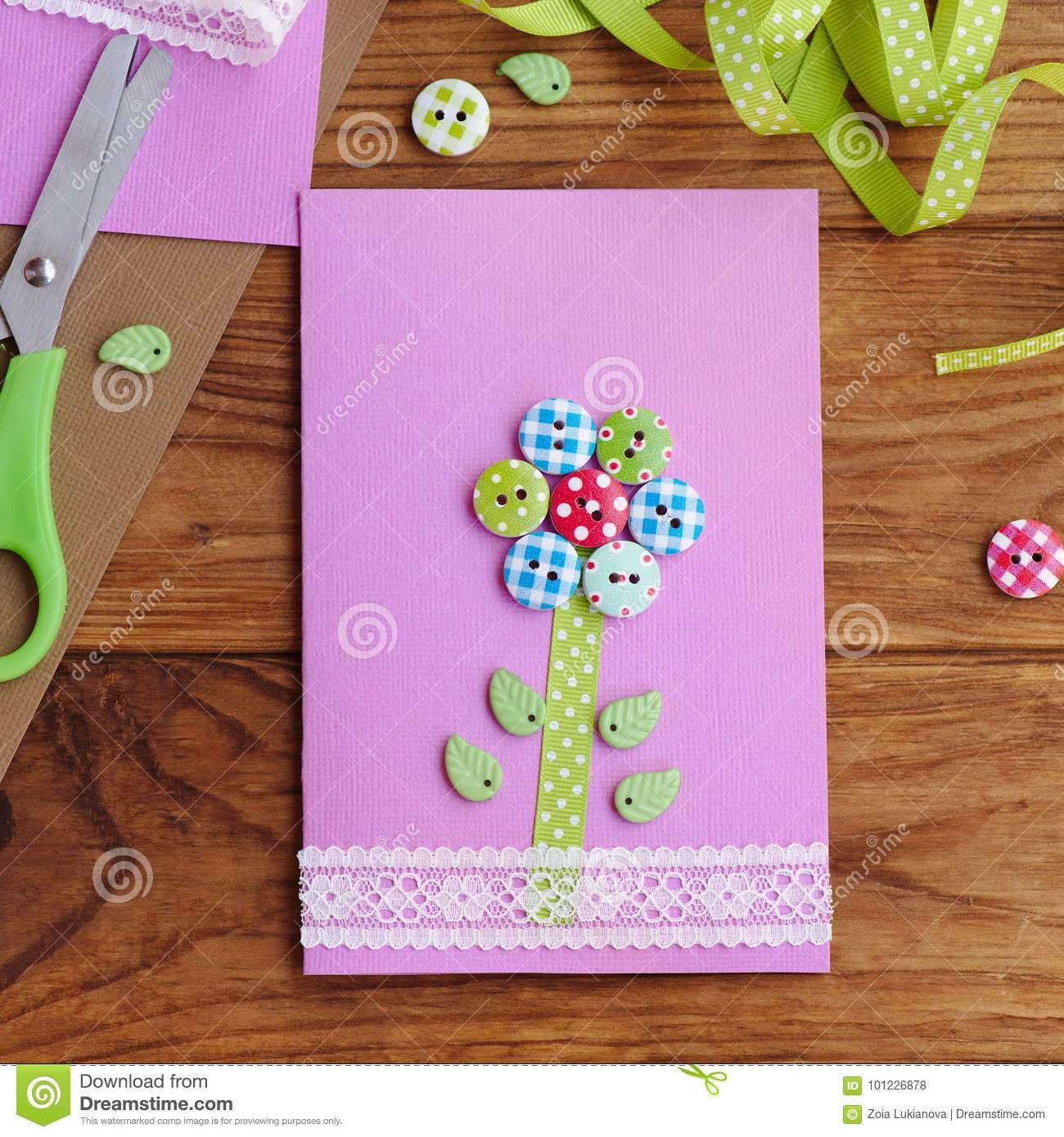 Homemade Greeting Card For Kids To Make Stationery On A Brown