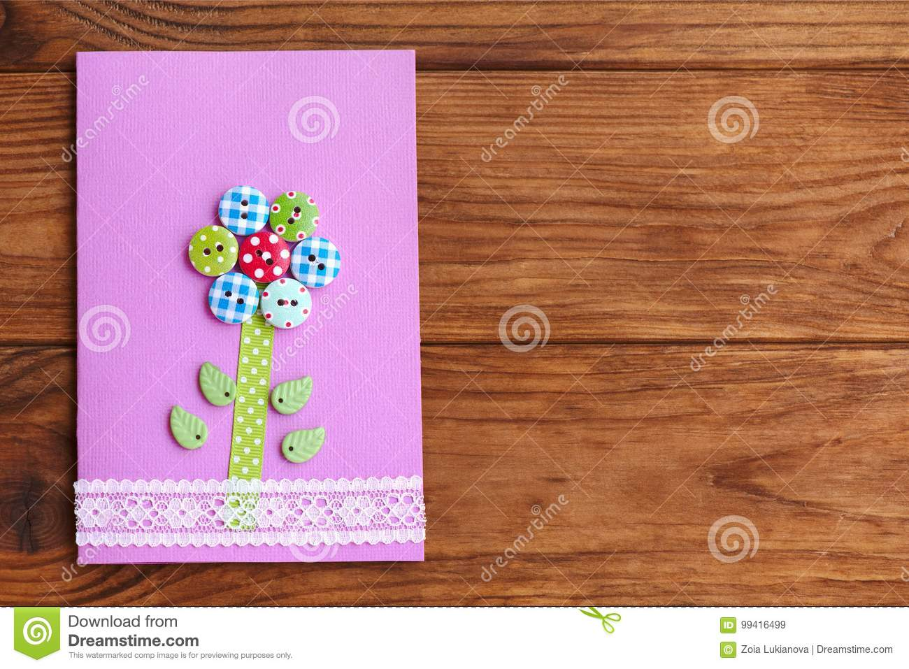 Happy Mothers Day Or Birthday Greeting Card With Flower On A Wood