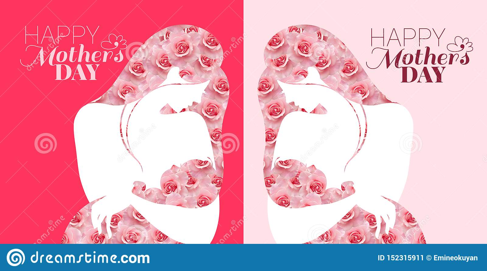 Mothers day celebration card. Mother and Baby on the pink background
