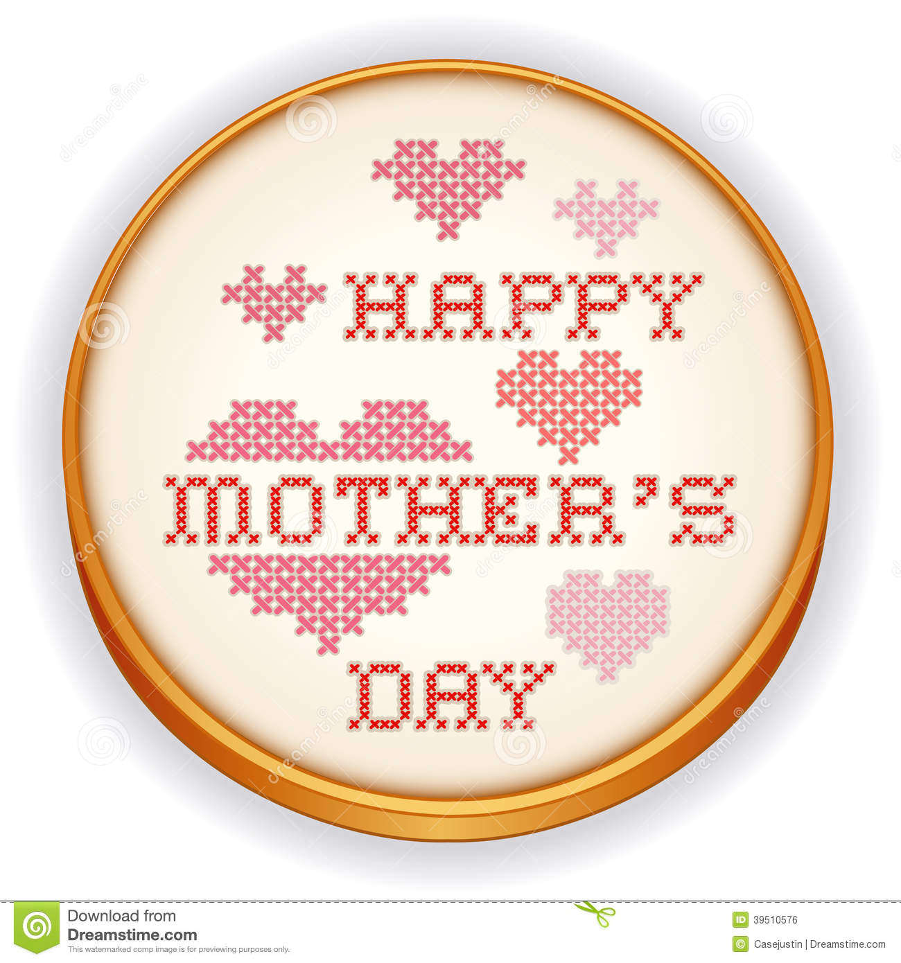 Mothers Day Cross Stitch Embroidery, wood hoop