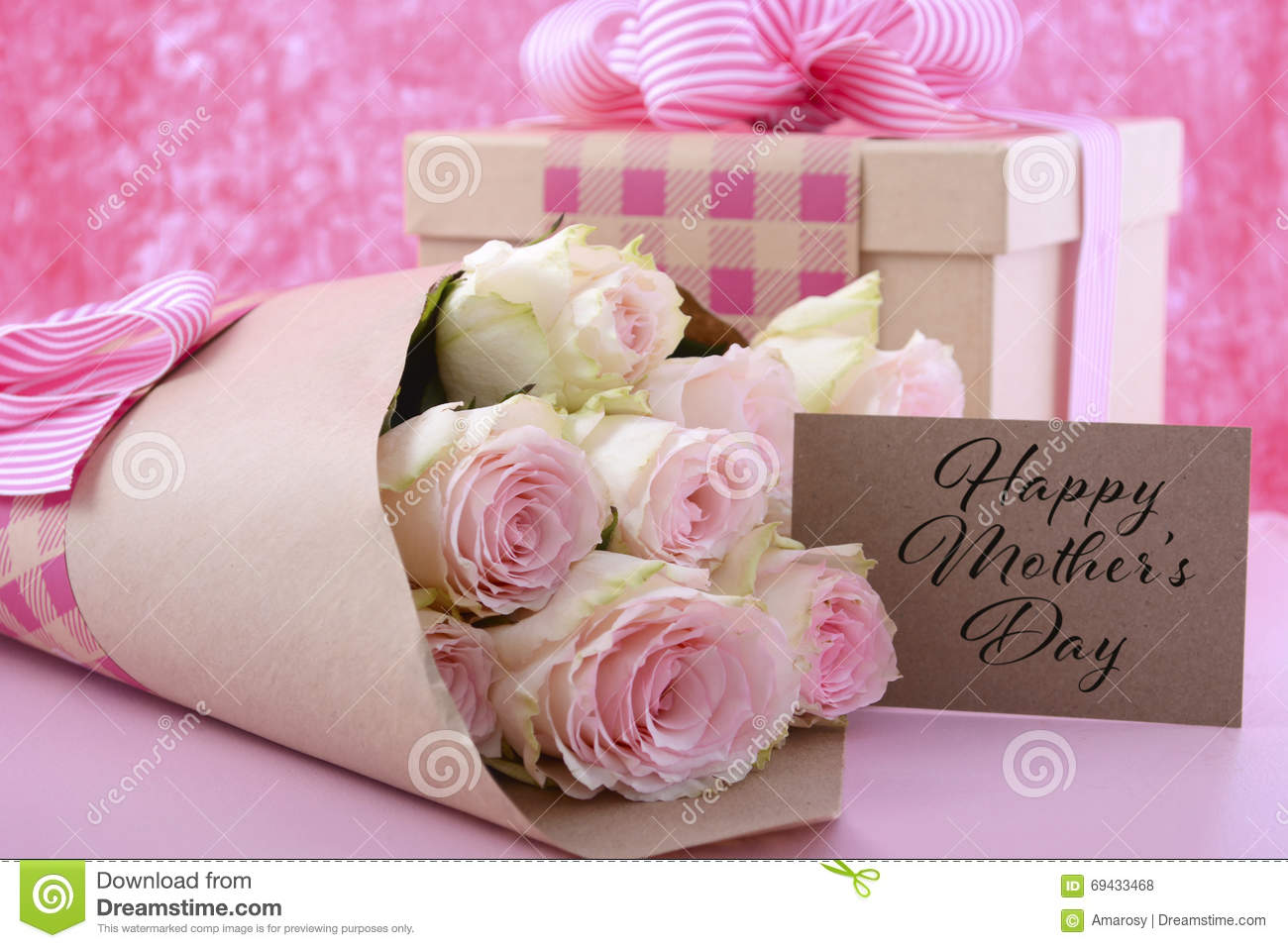 Mothers day gift and flowers stock photo image of check pink royalty free stock photo negle Choice Image