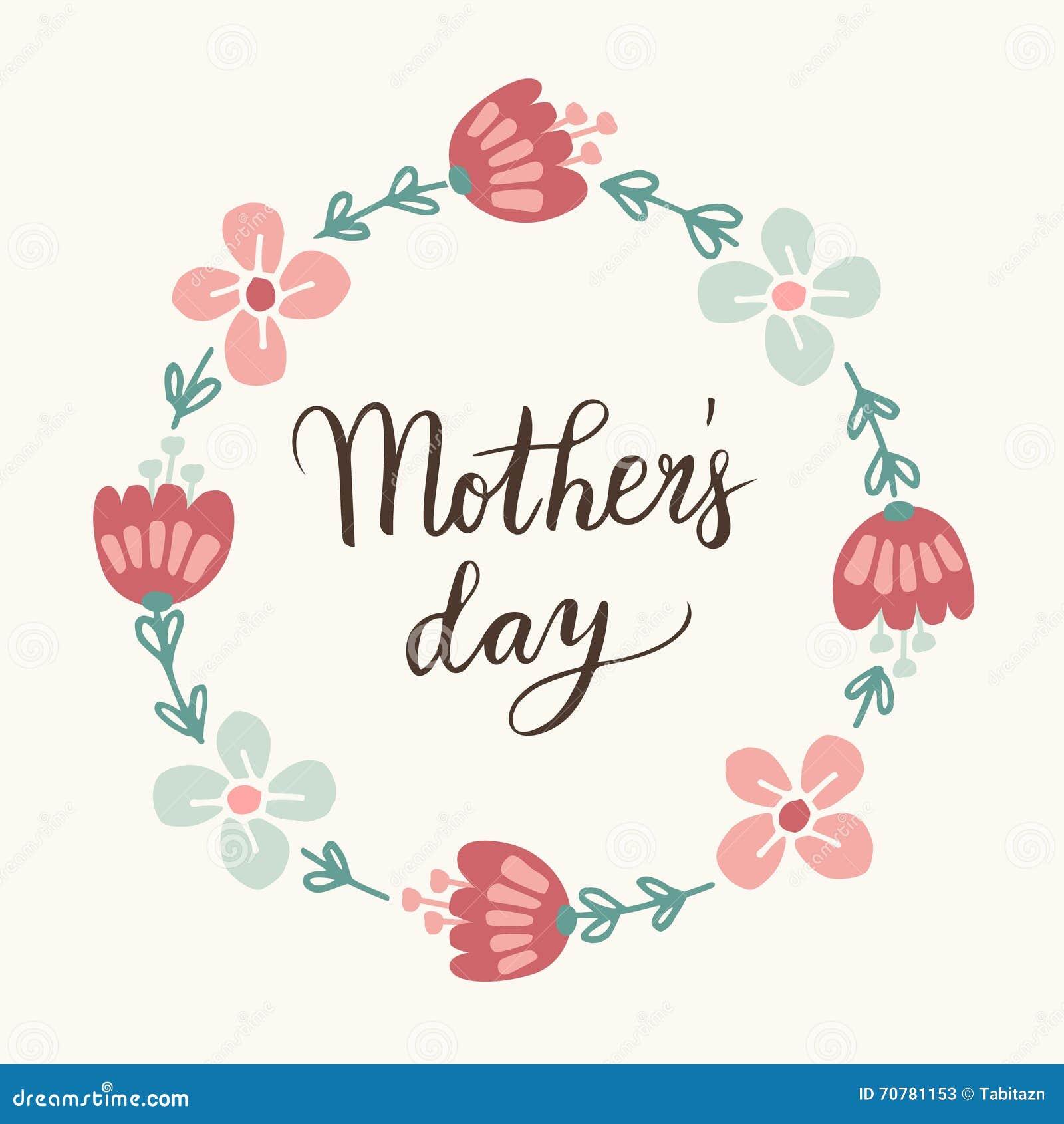 Mothers Day Greeting Card Invitation Handwritten Brush