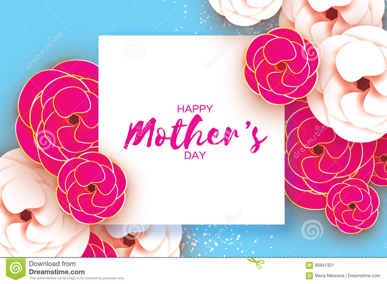 Mothers Day Greeting Card Womens Day Paper Cut Pink Gold Flower
