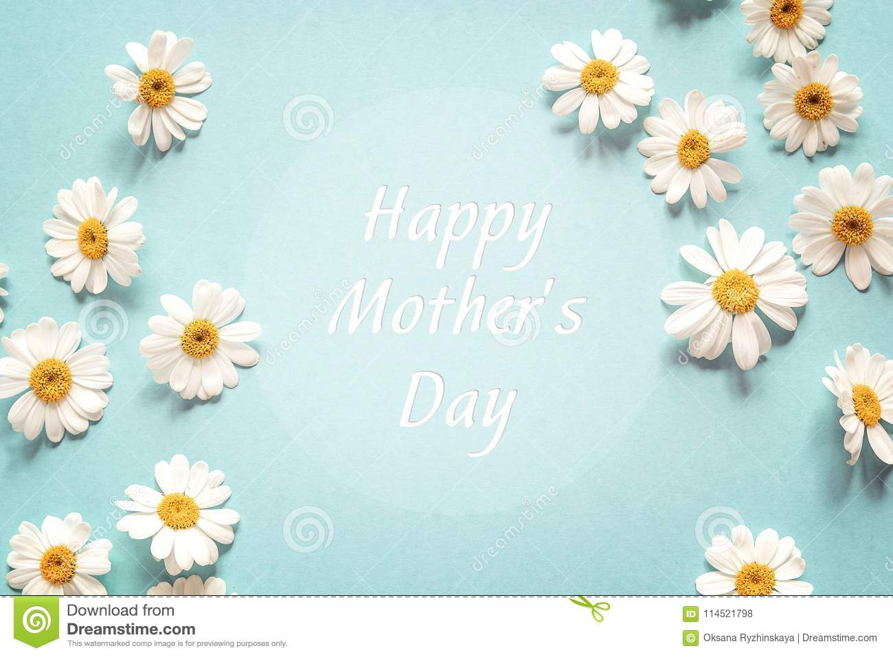 Mothers day greeting message with chamomiles frame flat layer royalty free stock photo m4hsunfo