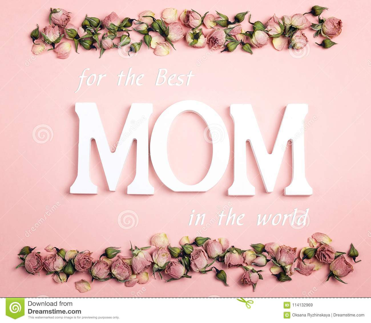 Mothers Day Greeting Message With Small Dry Roses On Pink Backgr
