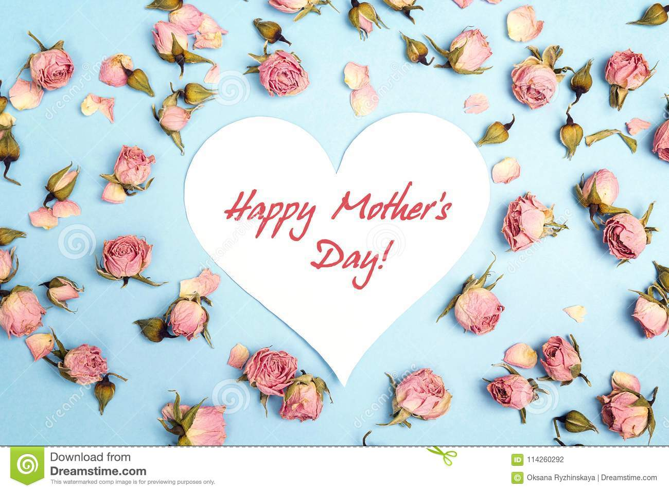 Mothers Day greeting message with small pink roses on blue background.