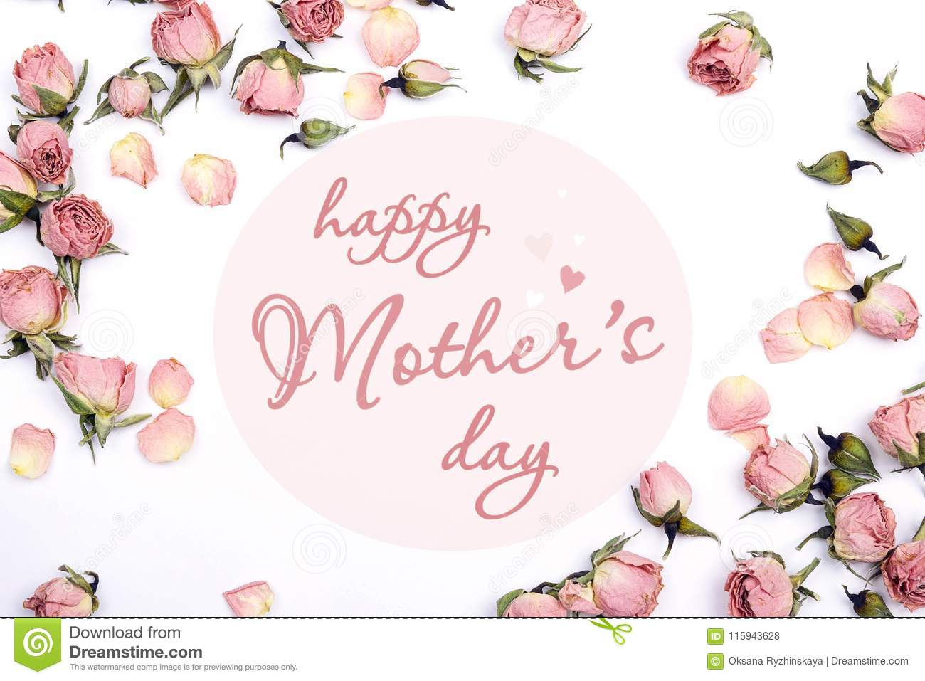 Mothers Day Greeting Message With Small Pink Roses On White Back