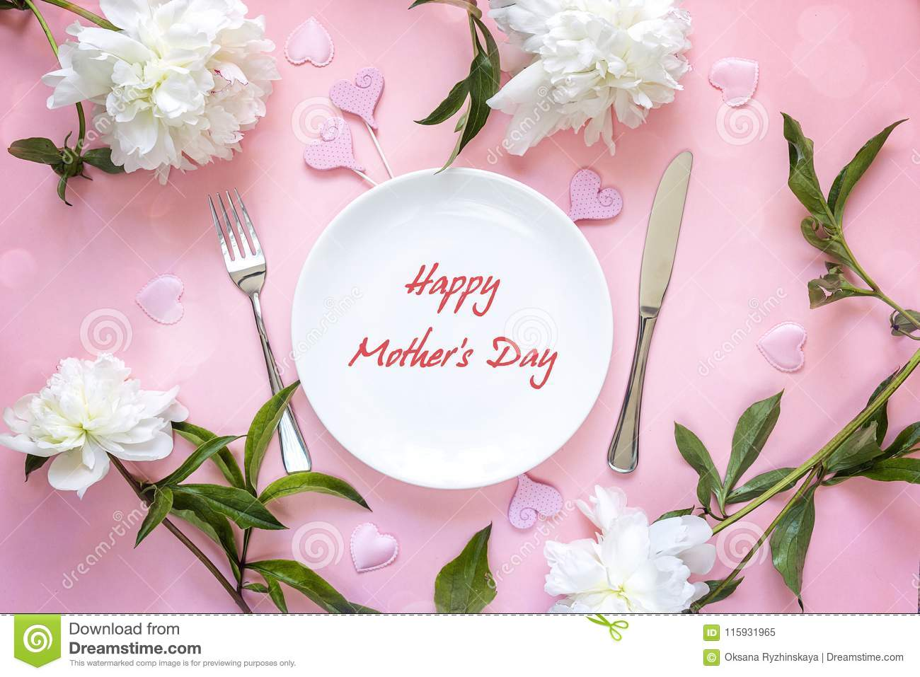 Mothers Day Greeting Message With Table Setting White Peonies A