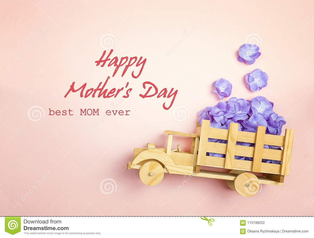 Mothers Day Greeting Message With Wooden Toy Truck With Violet F