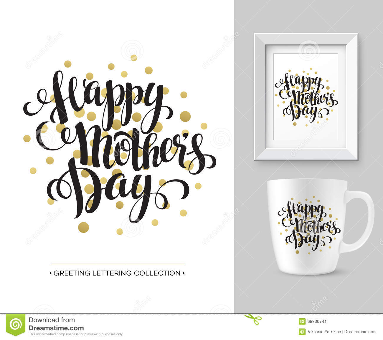mothers day vector greeting card calligraphy lettering template