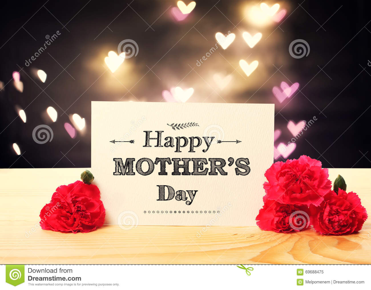 Mothers Day Message Card With Carnation Flowers Stock Image Image