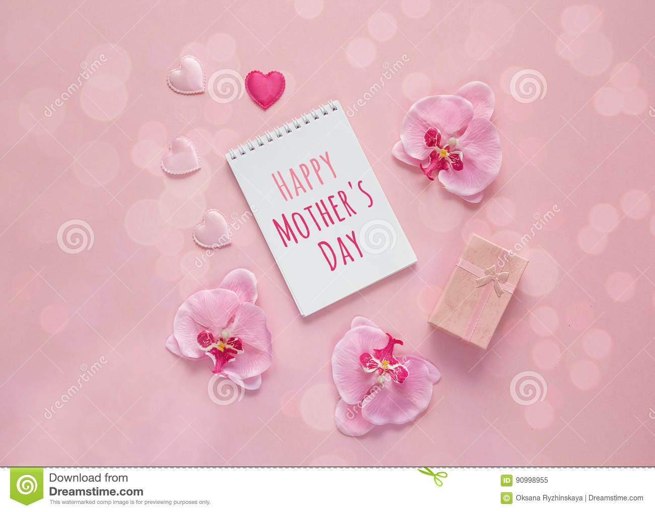Mothers Day Message With Gift Box Orchid Flowers And Hearts On