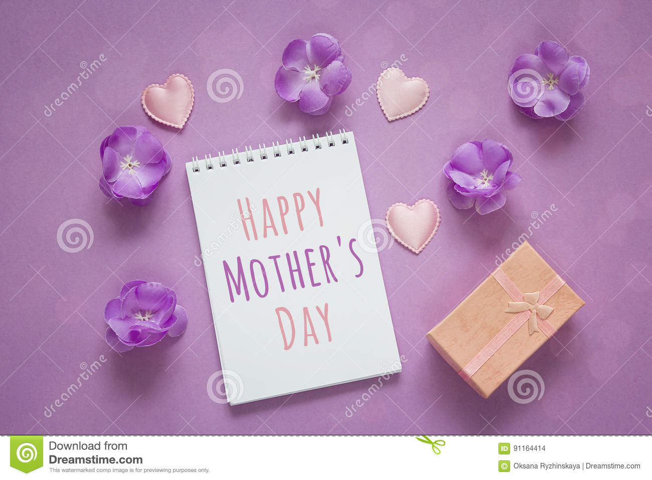 Mothers Day Message With Gift Box Purple Flowers And Hearts On