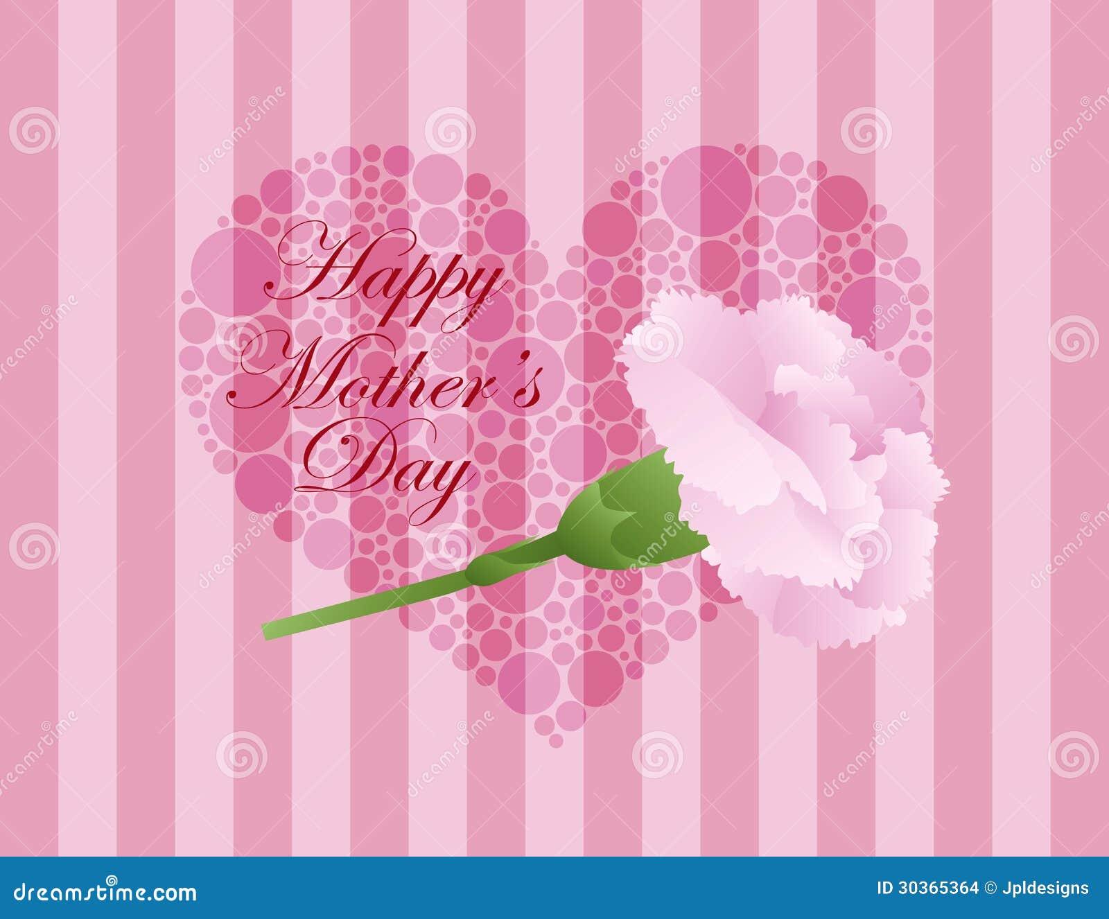 Mothers Day Pink Carnation Flower Illustration Stock Vector