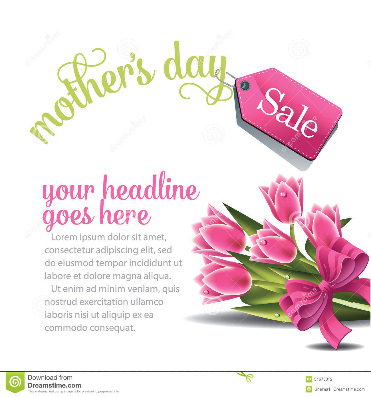 Mom Day Sale Ͽ� Seasonal A5 Flyer Template: Mothers Day Sale Background EPS 10 Vector Stock Vector