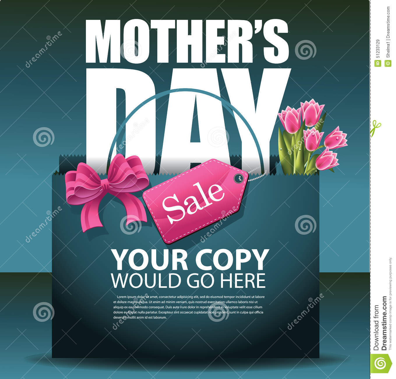Mothers Day Storewide Sale Template: Mothers Day Sale Shopping Bag Design EPS 10 Vector