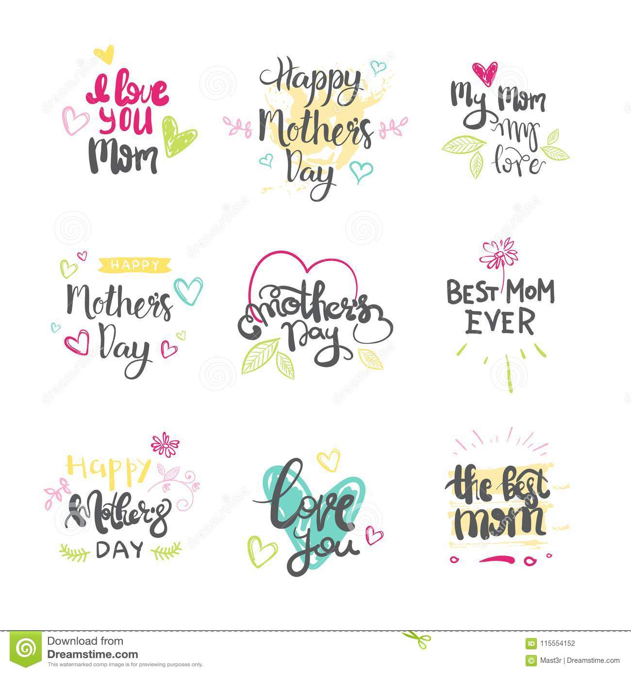 Mothers day set of creative logos isolated holiday greeting card mothers day set of creative logos isolated holiday greeting card lettering m4hsunfo