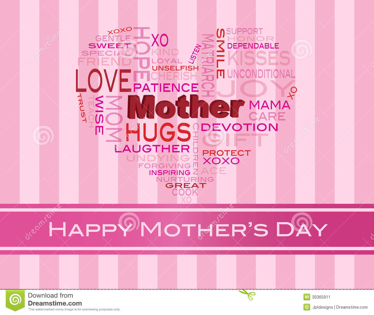 Mothers Day Word Cloud Greeting Card Stock Vector Illustration Of