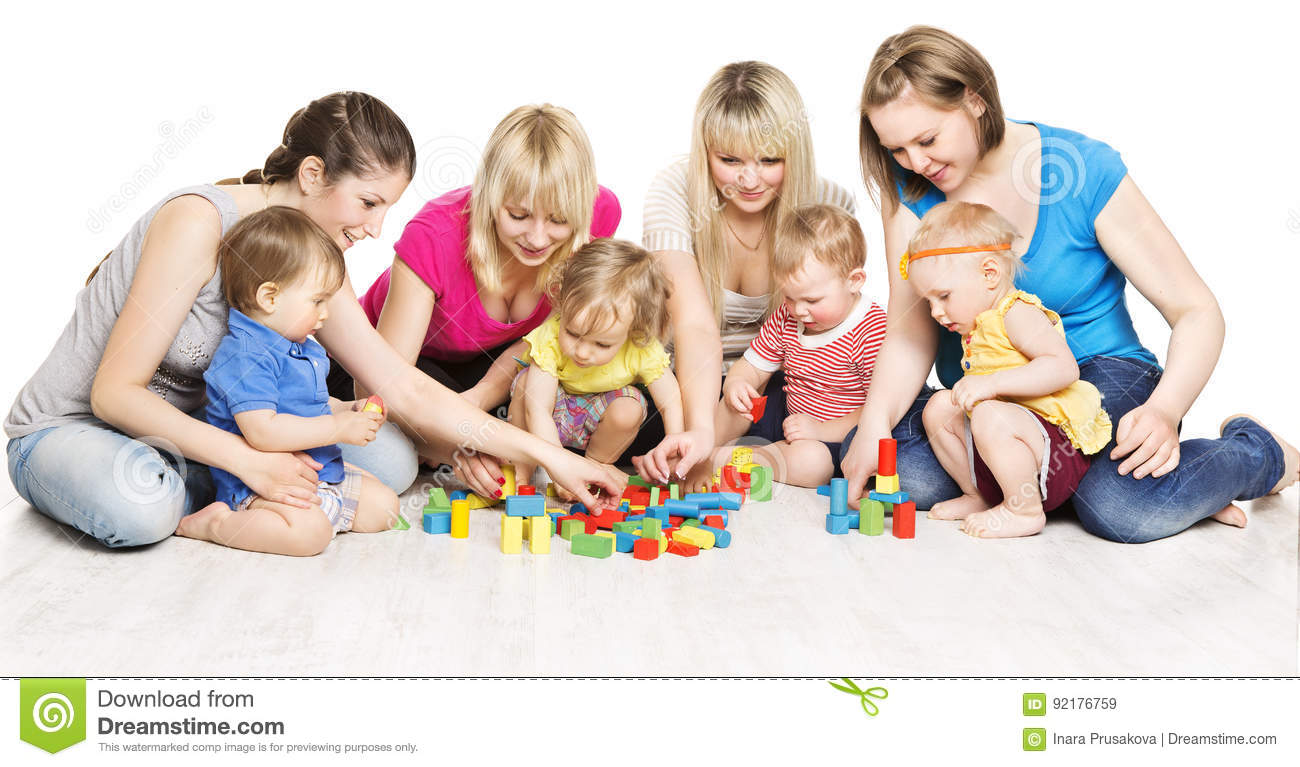 Mothers and Kids Group Playing Toys, Mother Play with Baby