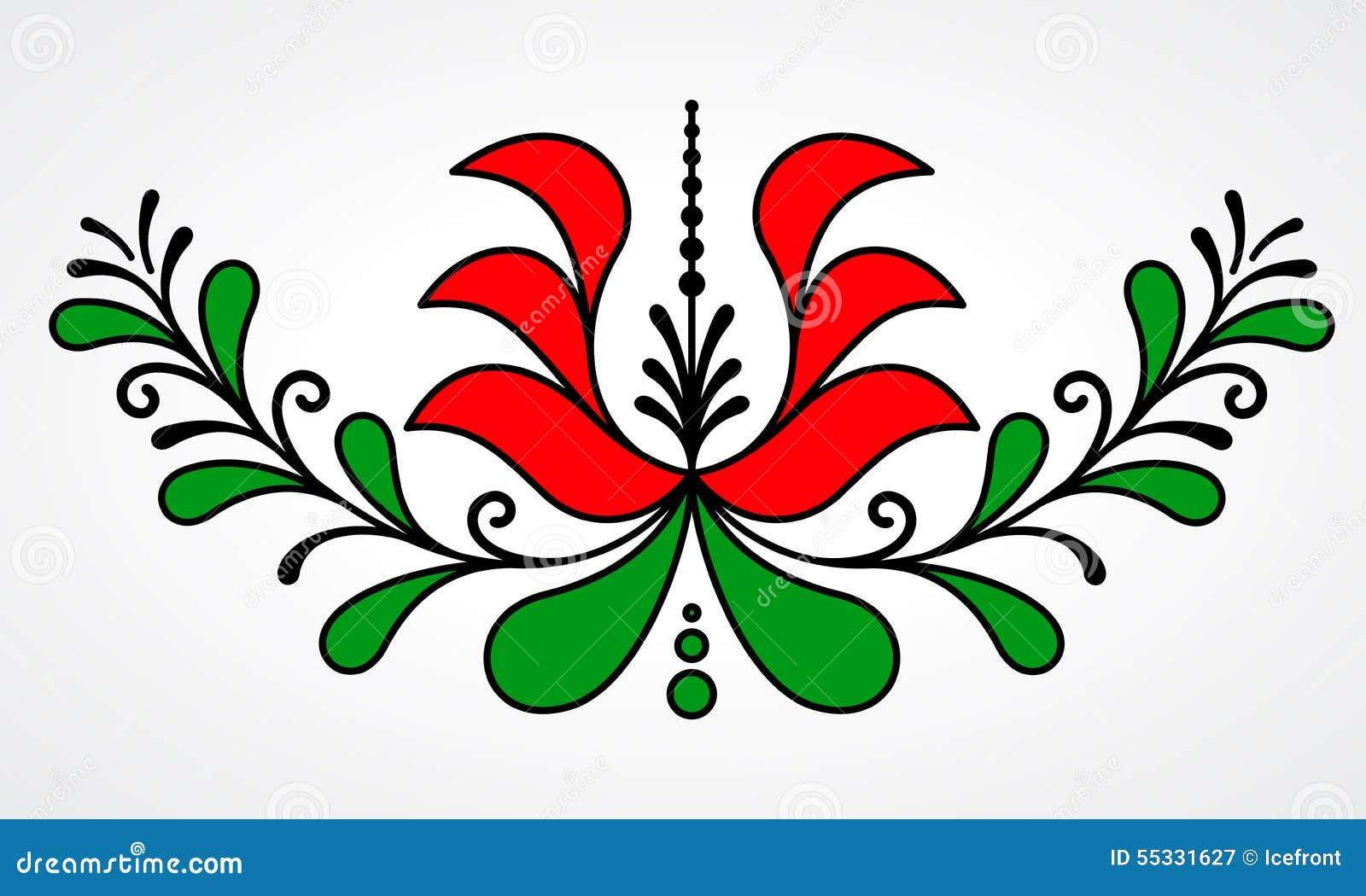 Motif floral hongrois traditionnel
