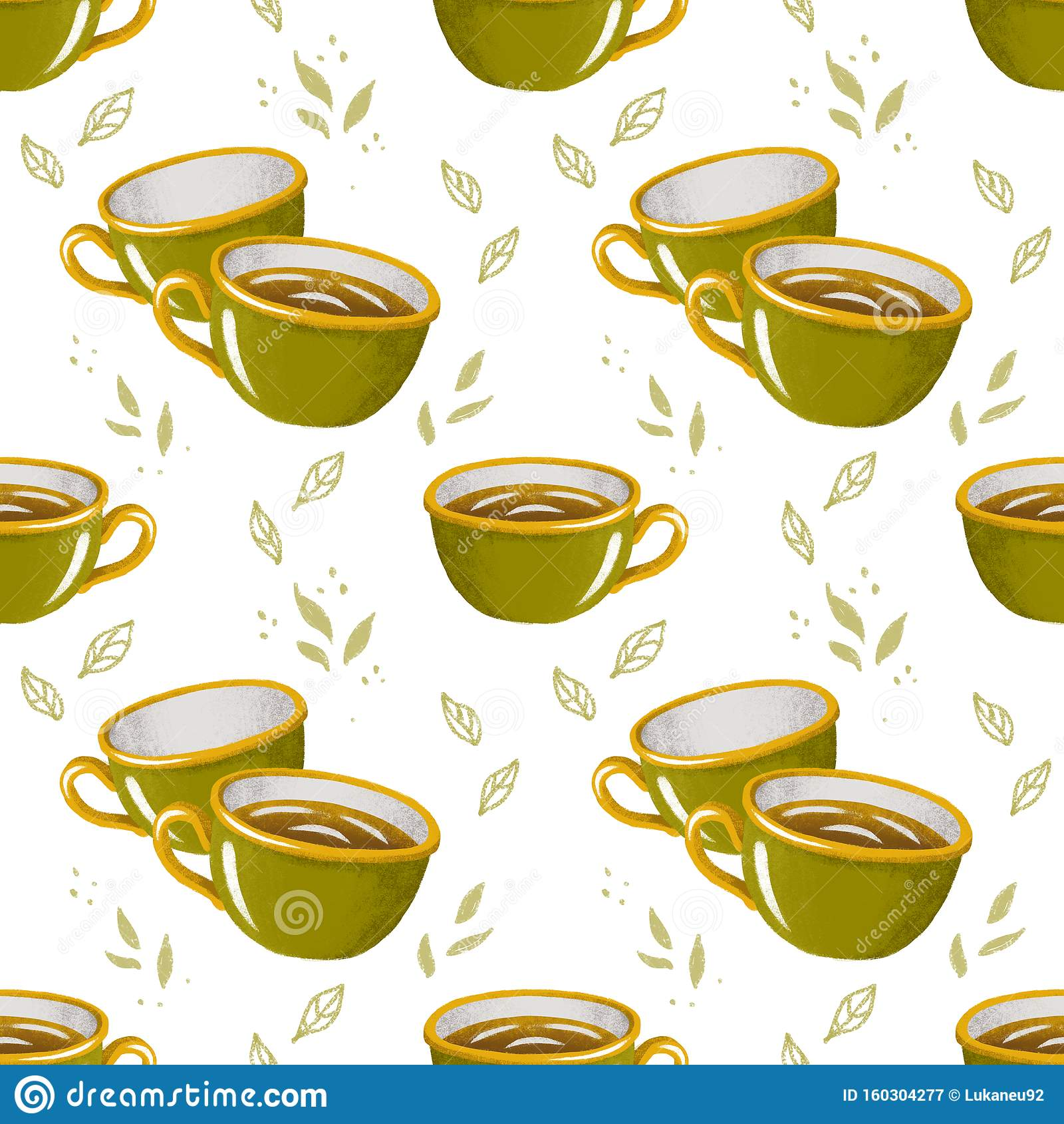 Dessin Avec La Main motif incolore avec théières, tasses et feuilles texture
