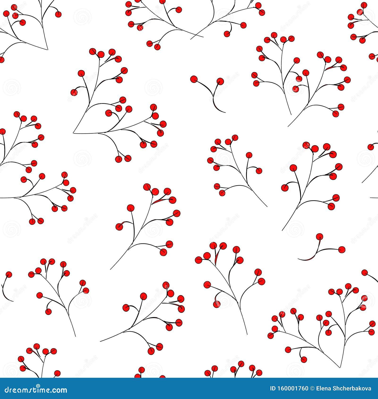 Motif incomparable : baies rouges sur une tige noire sur fond blanc. vecteur. illustration