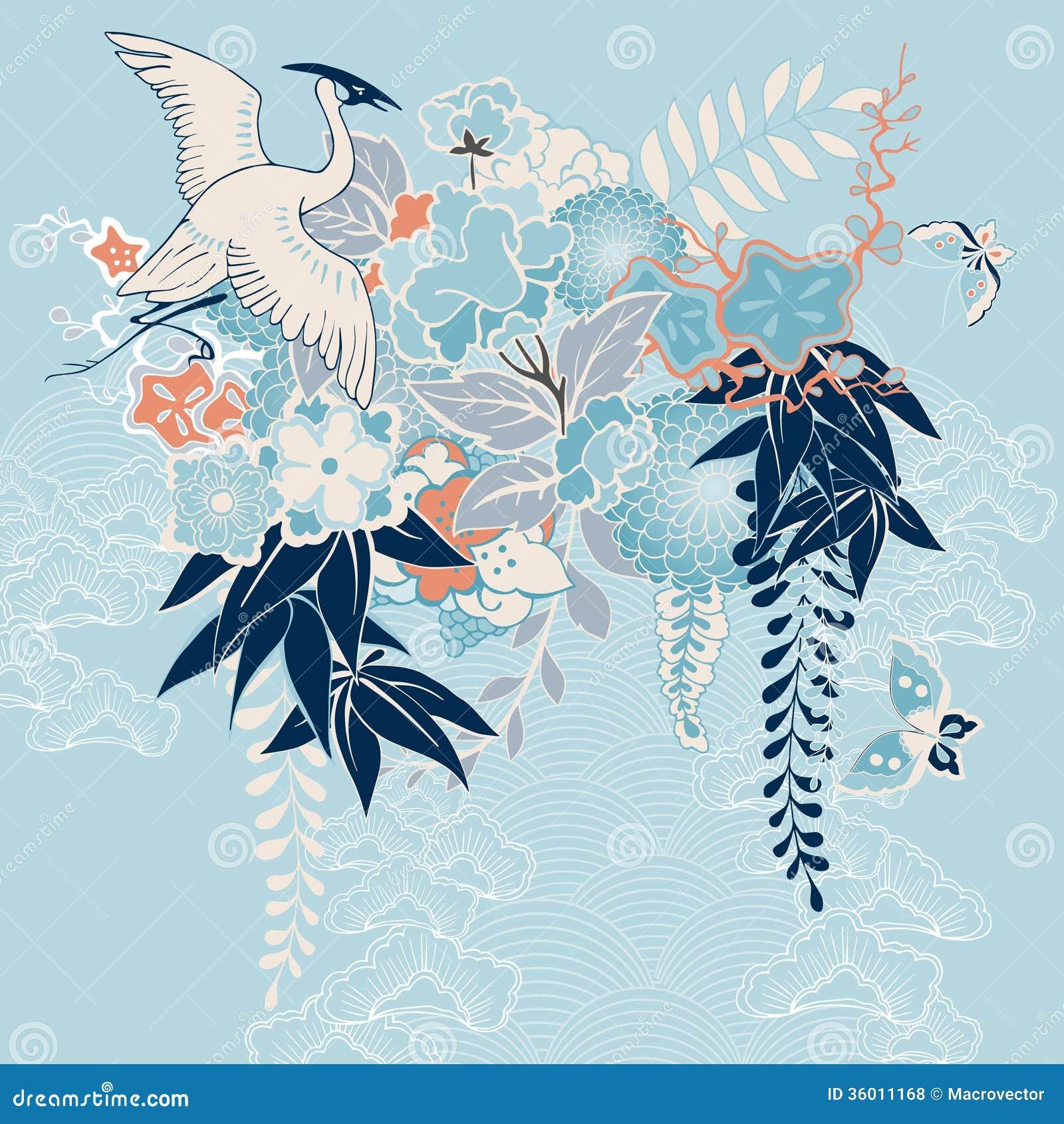 Motif japonais de kimono avec la grue et les fleurs - Deco printempsidees avec fleurs et motif floral ...