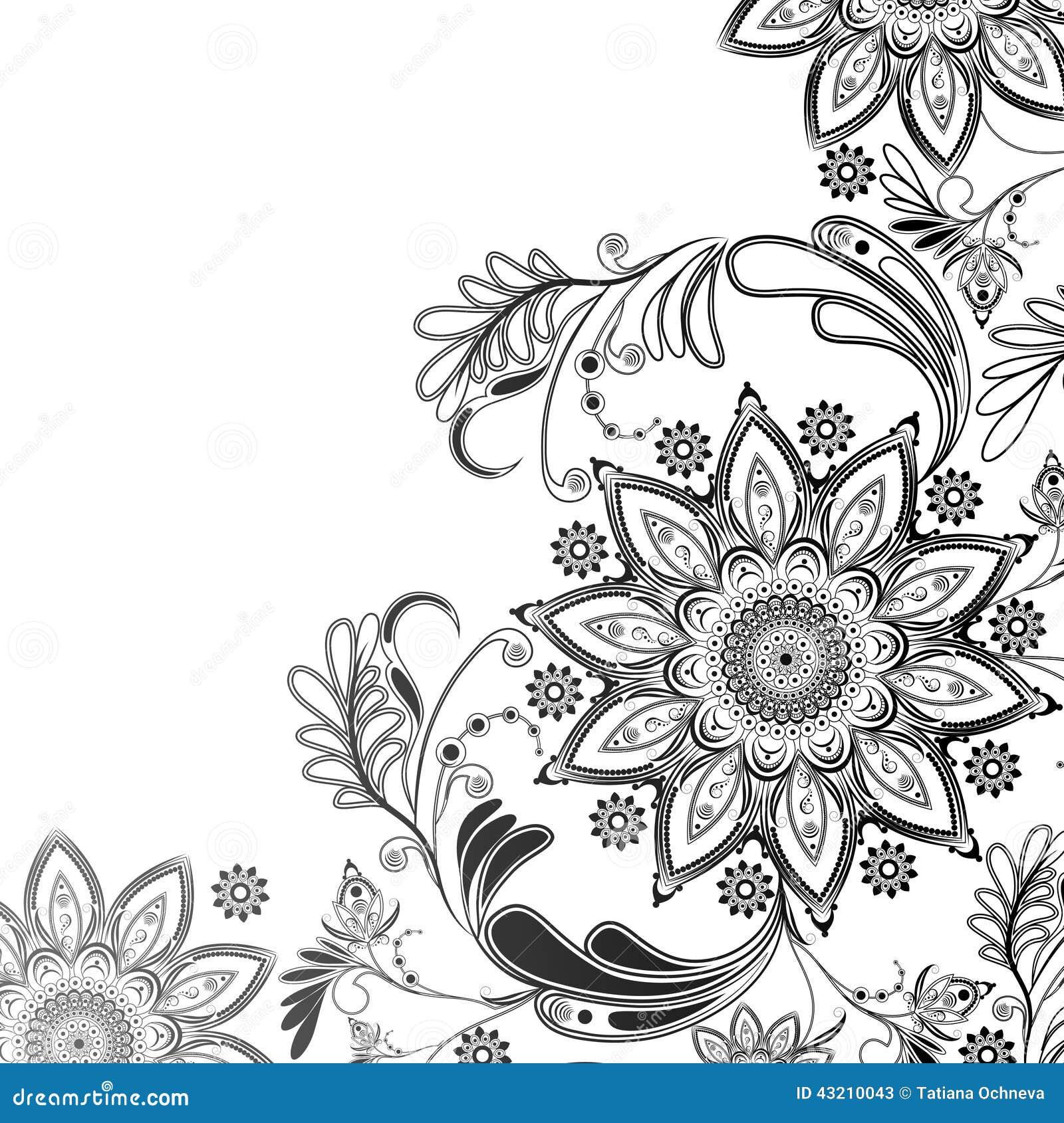 Motif Tatouage Noir Et Blanc: Motif Oriental En Noir Et Blanc Illustration De Vecteur