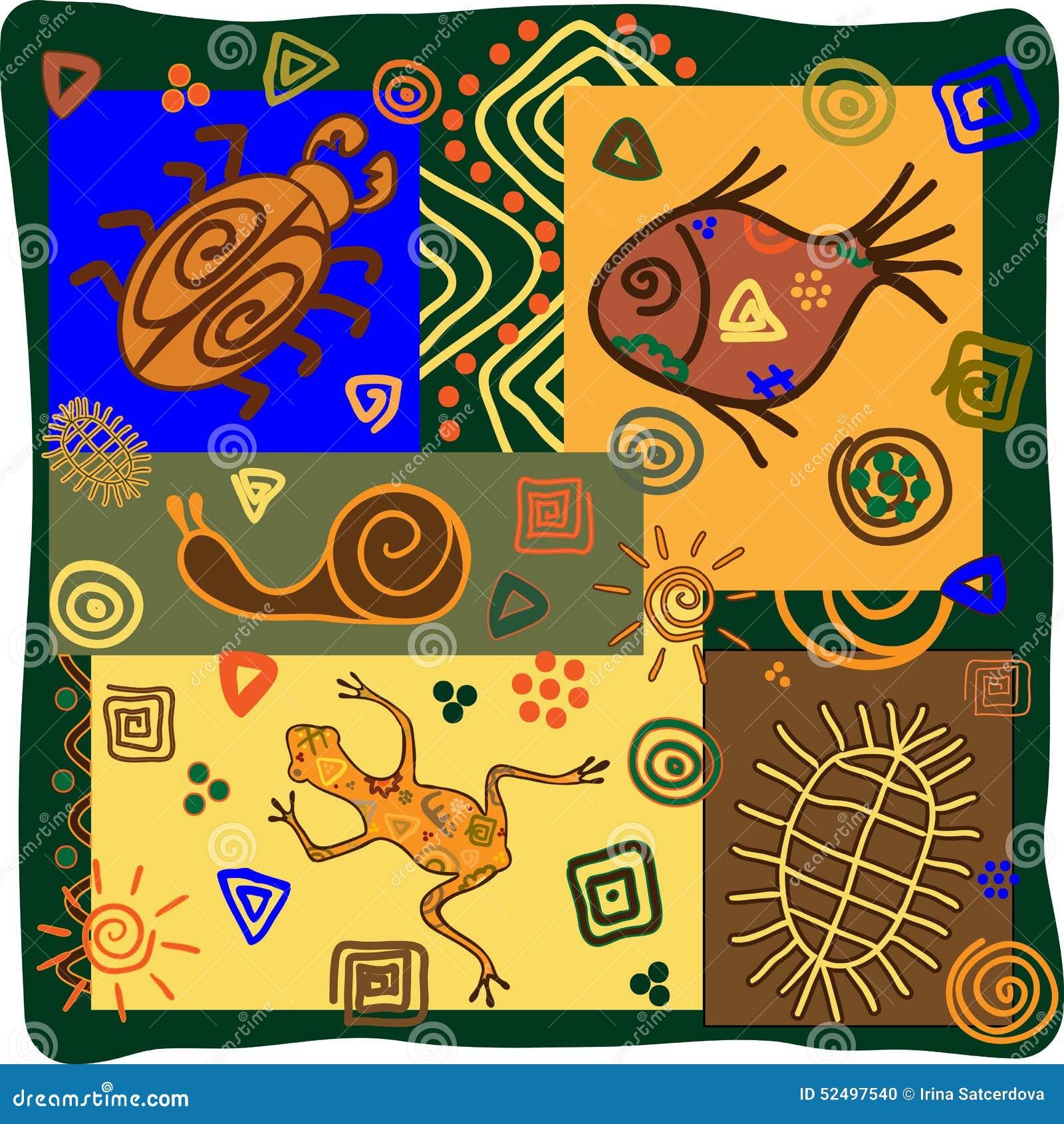 Motifs africains avec des animaux illustration de vecteur - Motifs africains maternelle ...