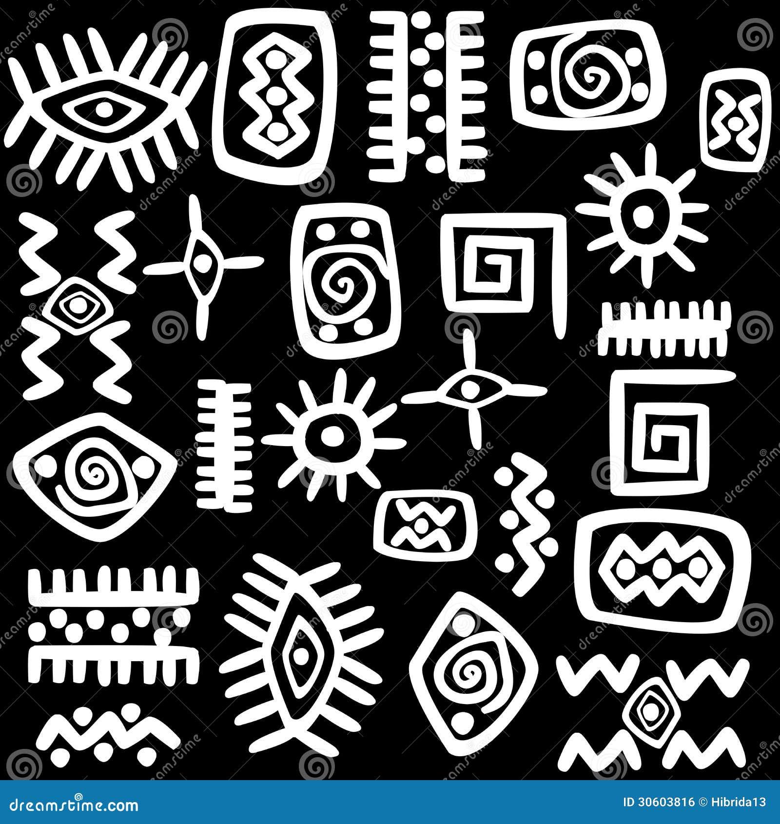 Motifs Africains Blancs R Gl S Au Dessus Du Fond Noir