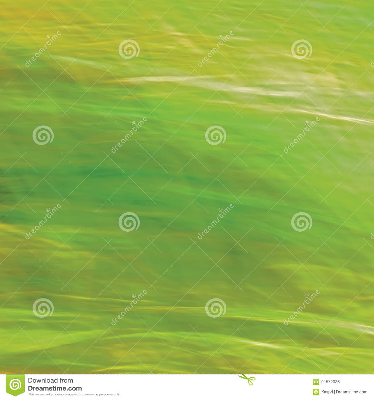 Motion Blurred Bright Meadow Grass Background, Abstract Green, Yellow, Amber Horizontal Texture Pattern Copy Space