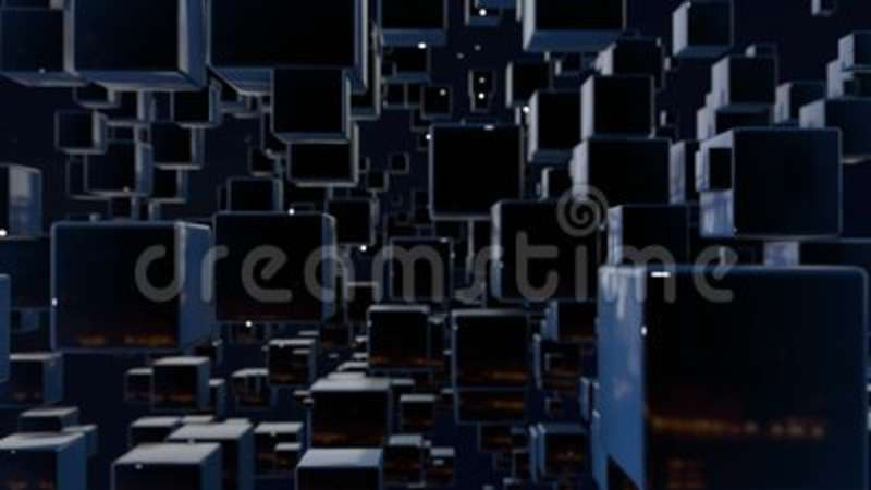 Motion graphics 3d looped animation as dark background in 4k with simple  cubes and depth of field  Dark composition with  Minimal, minimalism